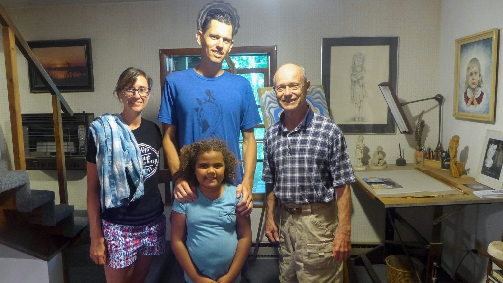 Artist Nelson Nichols with the Bowens and Aniya